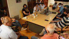 Los diputados provinciales de la UCR se reunieron con el secretario general de Sadop Rosario, Martín Lucero.