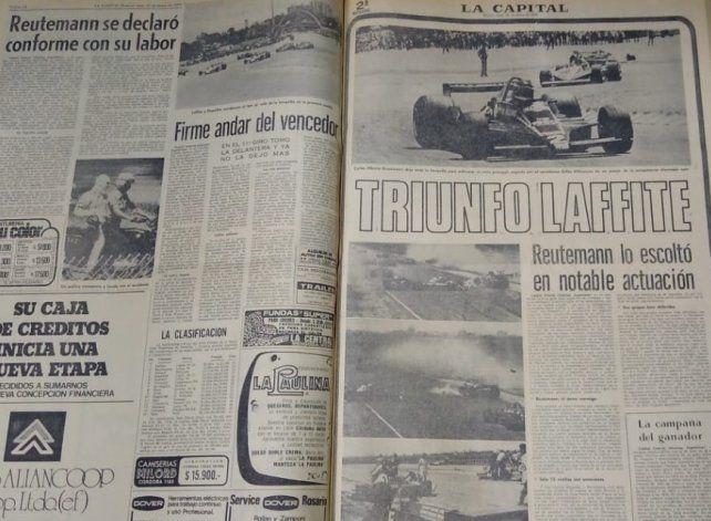 Jacques Henry Laffitte, uno de los pocos amigos entre los pilotos que hizo Lole en la F-1, acapara el titular de La Capital tras el GP argentino del 79. Pero la foto, claro, es del Lotus 79 de Reutemann.