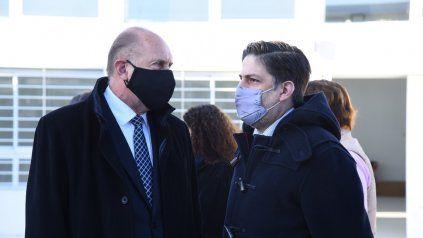 El gobernador Omar Perotti junto al ministro de Educación nacional, Nicolás Trotta.