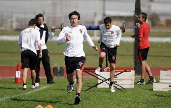 Fabián Muñoz jugó para los titulares en la práctica de esta tarde.