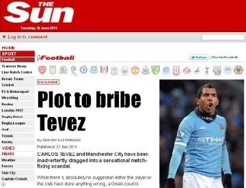 Diario sensacionalista británico vincula a Carlitos Tevez con un aberrante caso de soborno