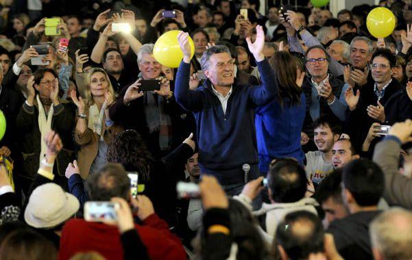 El orador. Mauricio Macri encabezó un acto partidario en un club del barrio porteño de Flores.