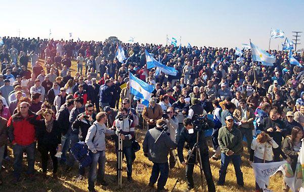Protesta. La concentración de productores en Villa María