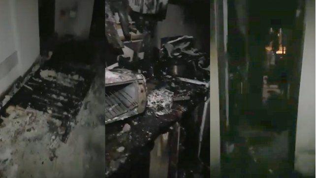 El incendio se registró en un quinto piso