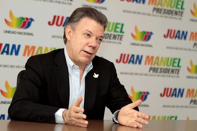 El presidente Juan Manuel Santos durante la reciente campaña electoral que le dio la reelección.