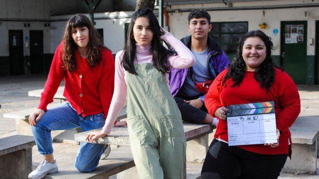 Cuatro de los protagonistas de la historia que se rodó en la Gurruchaga.