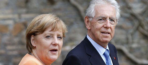 Merkel y Monti trataron de dar una imagen de armonía en Roma.