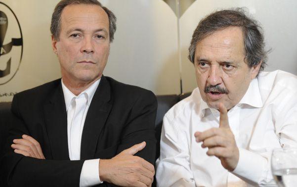 Dúo. Giustiniani y Alfonsín compartieron ayer una actividad política en Rosario.