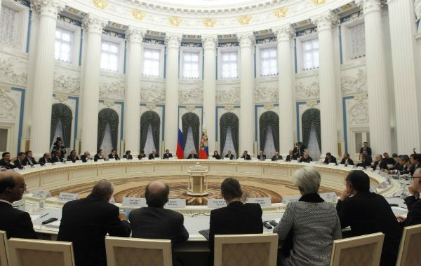 Cumbre. Los ministros de Finanzas del G-20 se reunieron en el Kremlim.