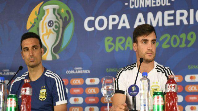 Conferencia de prensa. Scaloni y Tagliafico hablaron antes del debut en Bahía.