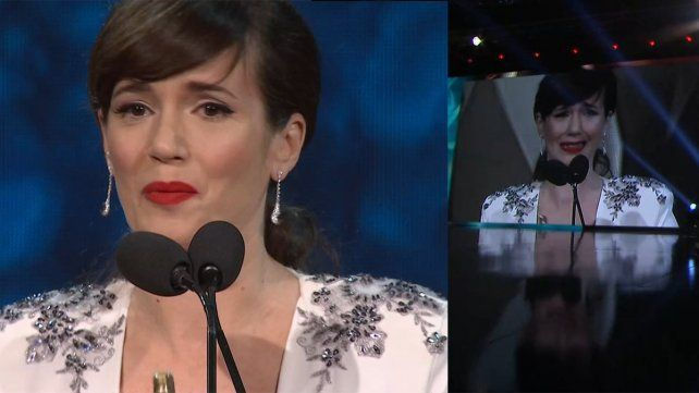 Emocionada. Griselda Siciliano terminó llorando al agradecerle a alguien muy especial.