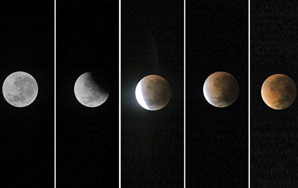 Así se vio. La Luna entró en el cono de sombra de la Tierra cerca de la una y a las cuatro alcanzó su color rojizo.