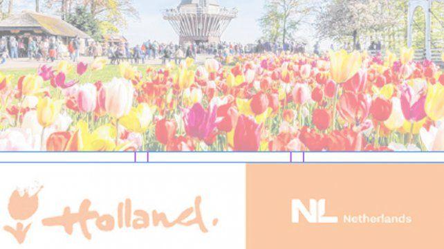 Postal y logos. Los campos de tulipanes identifican al país. Abajo