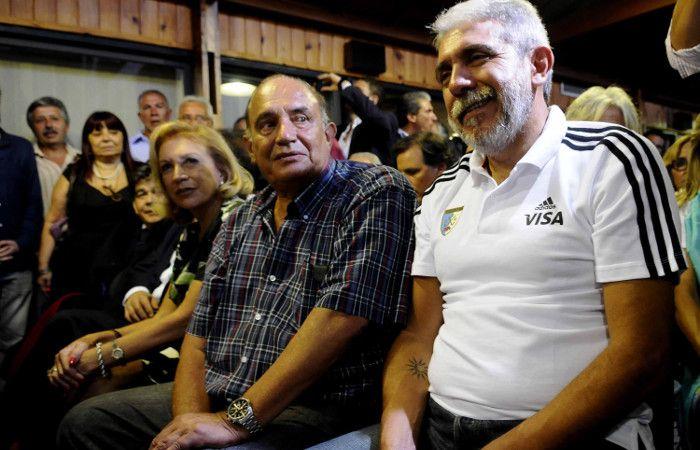 Días Bancalari y Aníbal Fernández en la reunión del PJ que se realizó hoy.