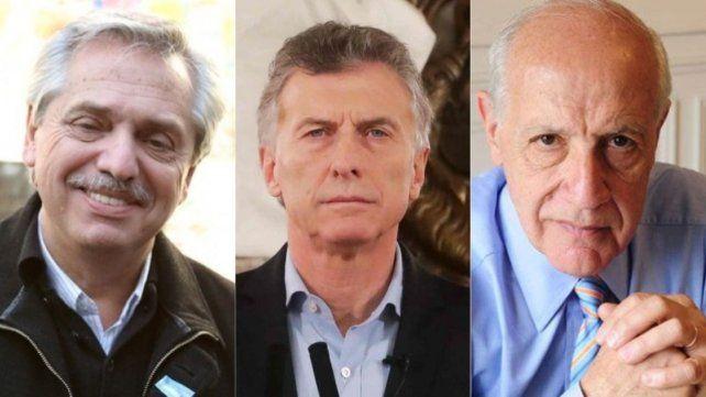 Fernández (Frente de Todos) y Macri (Juntos por el Cambio) se disputan el primer lugar. Lavagna (Consenso Federal) intentará romper la polarización.