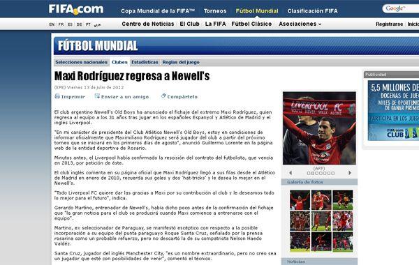 La noticia de la vuelta de Maxi a Newells también fue tema para la página oficial de Fifa.