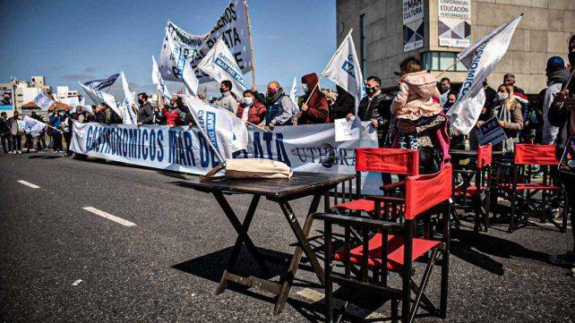 La protesta de trabajadores gastronómicos en la semana.