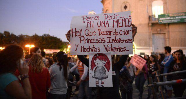 Una de las marcha en contra de la violencia machista que se realizaron en Rosario.
