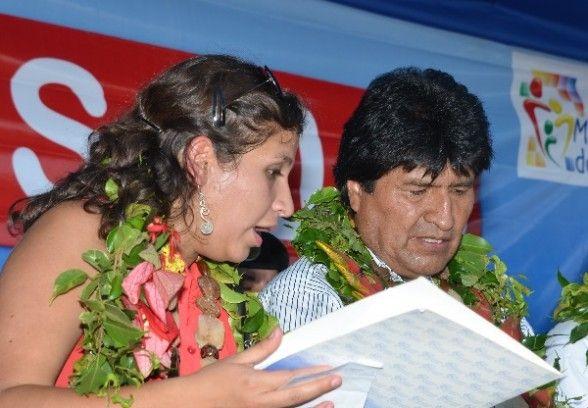 La ministra de Salud y el presidente Evo Morales.