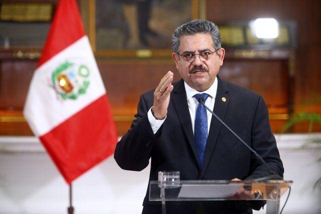 El ex presidente Manuel Merino. Duró cuatro días en el cargo.