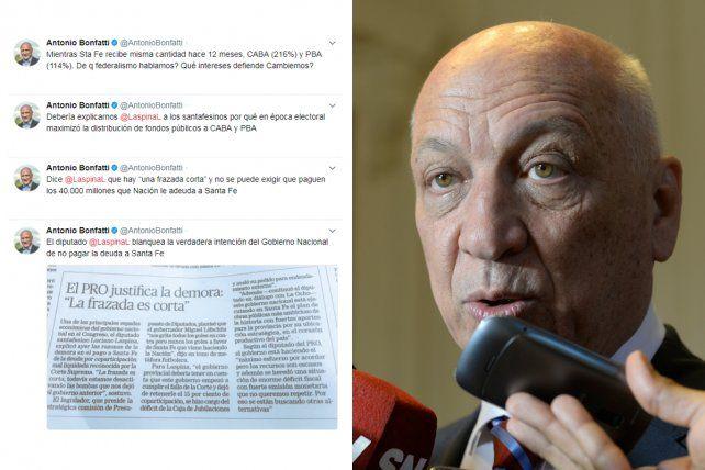 Catarata de tuits. Bonfatti cargó contra Cambiemos por la deuda de Nación con Santa Fe.