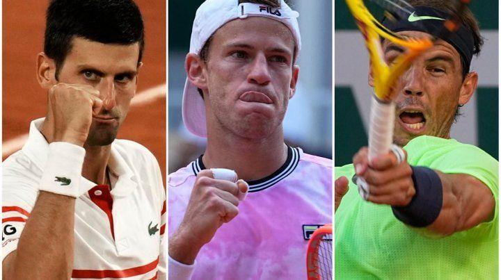 Novak Djokovic,Rafael Nadal y el Peque Schwartzman, el trío de Roland Garros.