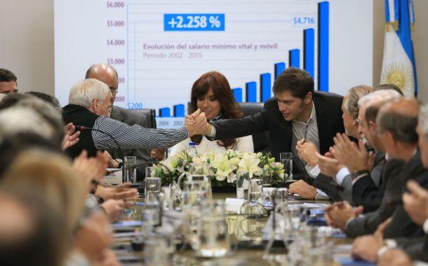 Las centrales obreras reunidas con la presidenta Cristina y sus ministros de Trabajo y Economía
