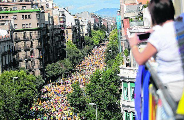 Demostración de fuerza. Miles de catalanes salieron a las calles el lunes a favor de la independencia.