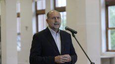 El gobernador Perotti durante los anuncios de los cambios en el gabinete.
