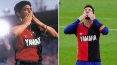 Con la rojinegra.El homenaje de Messi conmovió al mundo y unió a Diego con Ñuls.