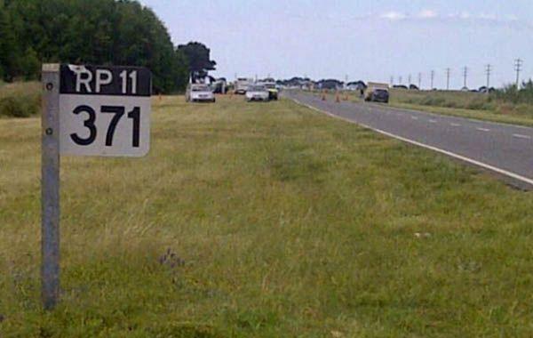 Kilómetro 371 de la ruta interbalnearia 11. Allí está la arboleda donde encontraron el cadáver calcinado.