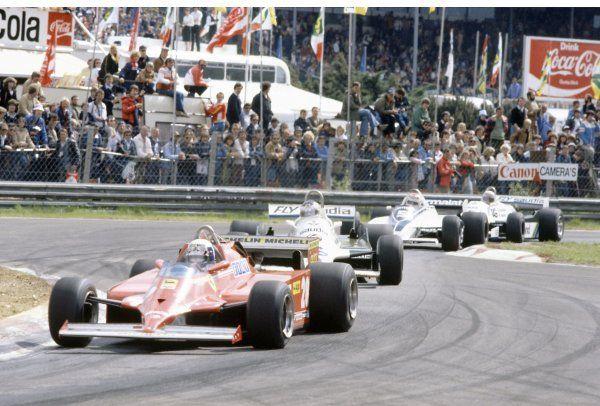 Esta largada fue la que valió. Pironi toma la punta acosado por Reutemann, Piquet y Jones.