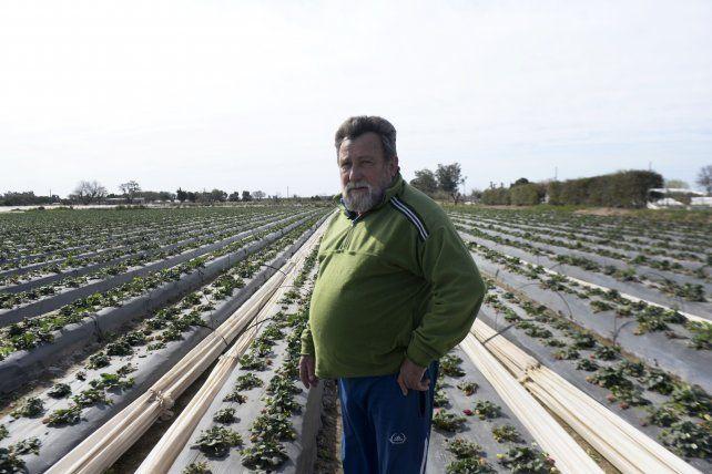 Miguel Angel Vaschetto tiene dos hectáreas casi sobre el límite de llanura de inundación del Coronda.