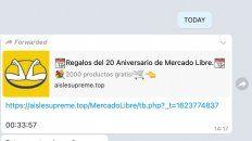 Un intento de estafa por WhatsApp ofrece regalos en nombre de Mercado Libre