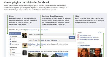 Facebook prepara un cambio de look en su página de inicio