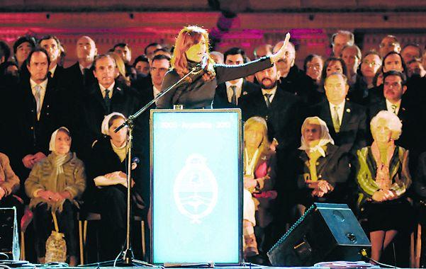 Un día clave. La presidenta Cristina Fernández en el acto del 25 de Mayo