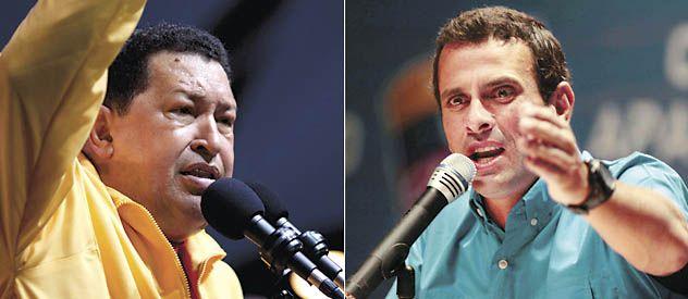 Chávez y Capriles hacen campaña intensamente. El presidente tiene las cadenas a su favor.