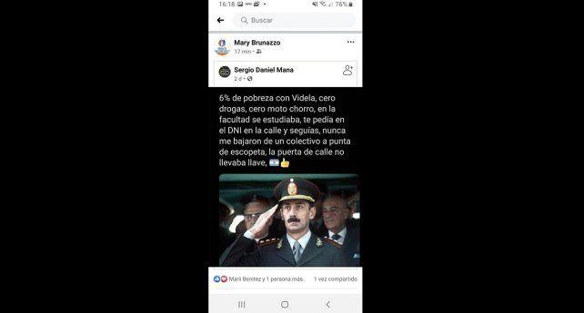 6% de pobreza con Videla... son las palabras con las que comienza el posteo que reivindica la dictadura y que la intendenta de Sastre compartió en su muro personal.