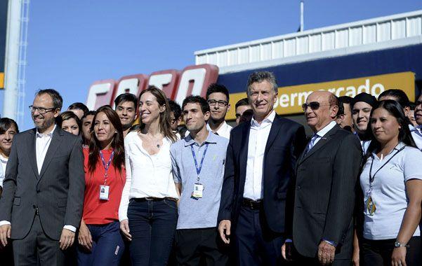 Macri compartió un acto con Alfredo Coto y pidió tiempo para combatir la inflación. (NA)