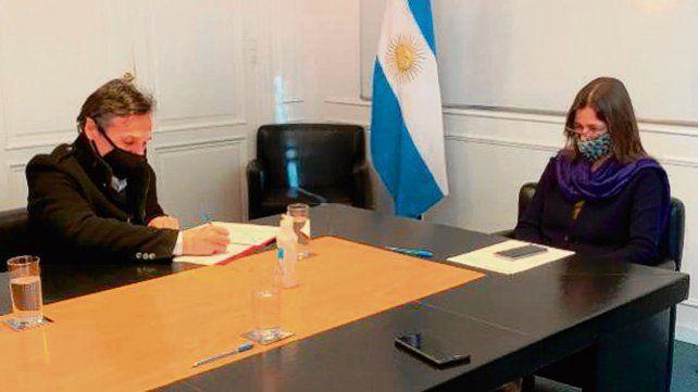 Acuerdo. Diego Giuliano y la ministra de Seguridad