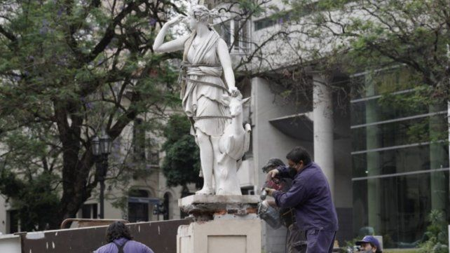 La restauración de la estatua de Diana