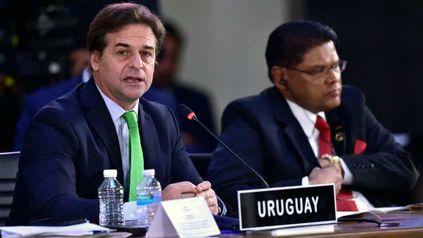 MANDATARIO. El presidente de Uruguay, Luis Lacalle Pou, hablá ayer en el Distrito Federal de México durante el encuentro de la Celac.