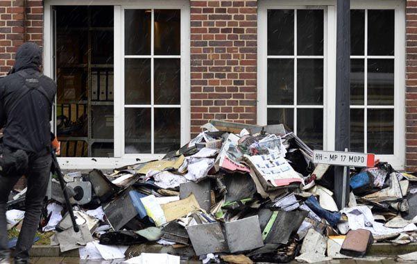 Asi quedó el archivo de redacción del popular diario de Hamburgo.