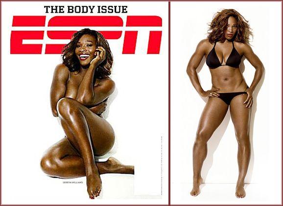 Serena Williams posó desnuda y se quejó de sus muslos: Son muy grandes