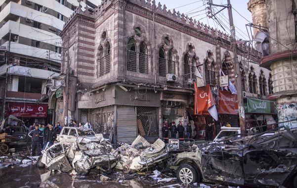 Devastador. El atentado suicida en la ciudad de Mansura que anteayer dejó 16 muertos y 140 heridos.