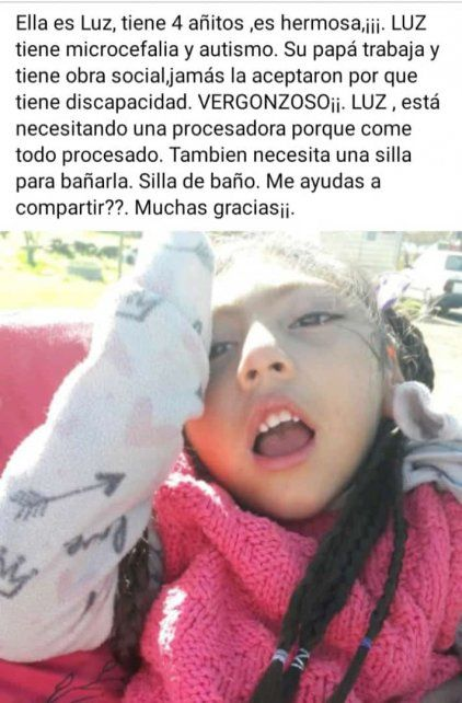 La pequeña de 4 años padece microcefalia y tiene trastorno autista.