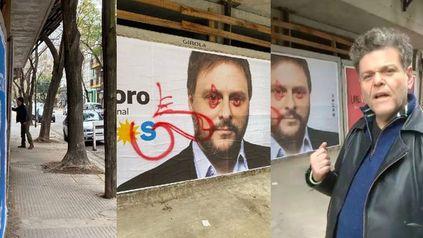 Antes de las Paso, Casero dibujó un pene en un afiche del candidato oficialista Leandro Santoro.