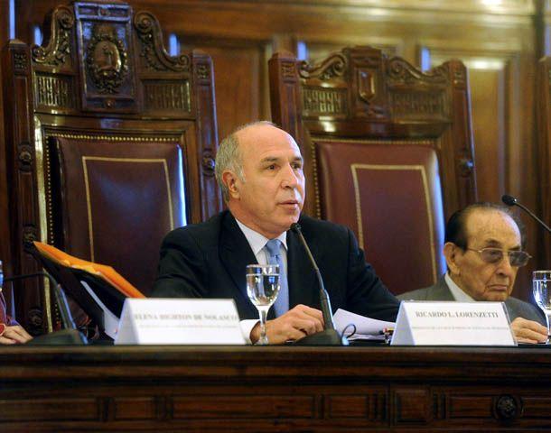 Ricardo Lorenzetti preside la audiencia en la Corte. (Foto: Télam)