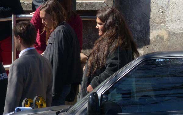 Liliana Montenegro durante la reconstrucción del hecho en la que dijo fue hostigada.
