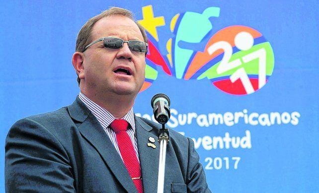 El jefe. Camilo Pérez preside la Odesur y está contento porque Rosario se presentará para ser sede en 2021.